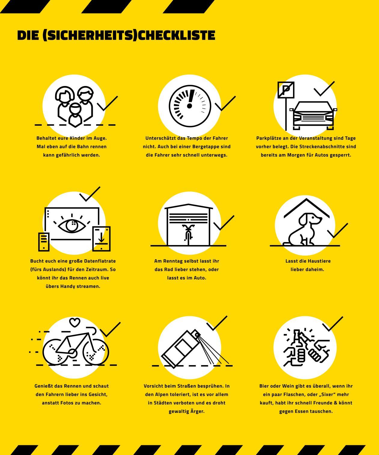 Checkliste - was solltest du bei einem Radrennen als Fan beachten