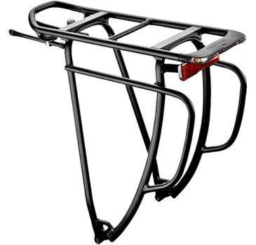 Schwarzer Fahrradgepäckträger mit Standlicht von Racktime