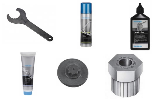 Pflegemittel und Werkzeug von Shimano